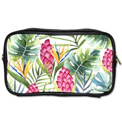 Tropical Leaves And Flowers Toiletries Bag (two Sides) by goljakoff