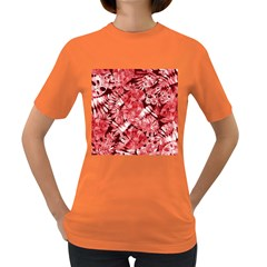 Red Tropical Leaves Women s Dark T Shirt by goljakoff