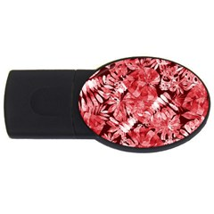 Red Tropical Leaves Usb Flash Drive Oval (4 Gb) by goljakoff