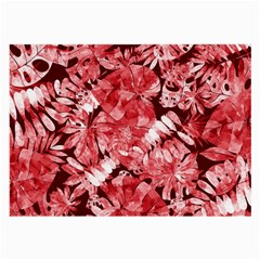Red Tropical Leaves Large Glasses Cloth (2 Side) by goljakoff