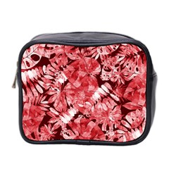 Red Tropical Leaves Mini Toiletries Bag (two Sides) by goljakoff