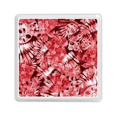 Red Tropical Leaves Memory Card Reader (square) by goljakoff