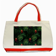 Monstera Flowers Classic Tote Bag (red) by goljakoff