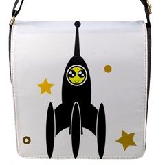 Spacecraft Star Emoticon Travel Flap Closure Messenger Bag (s)