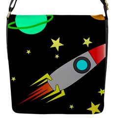 Planet Rocket Space Stars Flap Closure Messenger Bag (s)