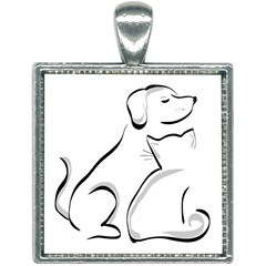 Dog Cat Animal Pet Cute Square Necklace