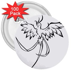 Phoenix Mythical Bird Animal 3  Buttons (100 Pack)