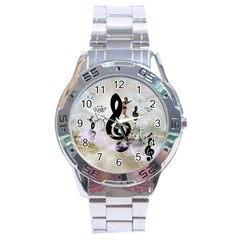 Dancing On A Clef Stainless Steel Analogue Watch by FantasyWorld7