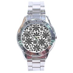 Black & White Stainless Steel Analogue Watch
