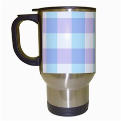 Gingham Duo Aqua On Lavender Travel Mugs (white) by retrotoomoderndesigns