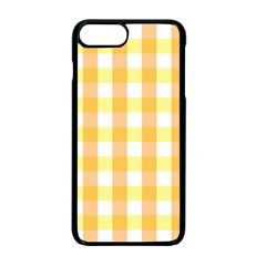 Gingham Duo Orange On Yellow Apple Iphone 7 Plus Seamless Case (black) by retrotoomoderndesigns