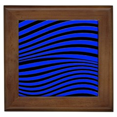 Black And Blue Linear Abstract Print Framed Tiles by dflcprintsclothing