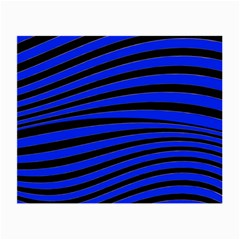 Black And Blue Linear Abstract Print Small Glasses Cloth (2 Side) by dflcprintsclothing