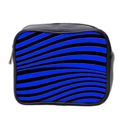 Black And Blue Linear Abstract Print Mini Toiletries Bag (two Sides) by dflcprintsclothing