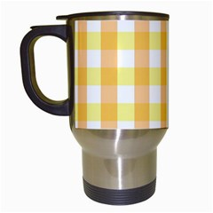 Gingham Duo Orange On Yellow Travel Mugs (white) by retrotoomoderndesigns