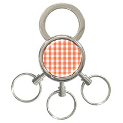 Gingham Duo Red On Orange 3 Ring Key Chains