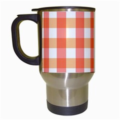 Gingham Duo Red On Orange Travel Mugs (white) by retrotoomoderndesigns