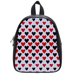 Red & White Hearts  Lilac Blue School Bag (small) by WensdaiAddamns