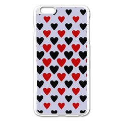 Red & White Hearts  Lilac Blue Apple Iphone 6 Plus/6s Plus Enamel White Case by WensdaiAddamns