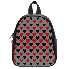 Red & Black Hearts   Grey School Bag (small) by WensdaiAddamns