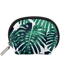 Green Monstera Leaves Accessory Pouch (small) by goljakoff