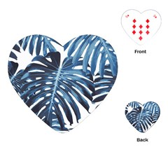 Blue Monstera Leaves Playing Cards (heart) by goljakoff