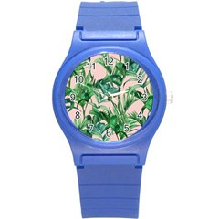 Green Tropical Leaves On Pink Ink Round Plastic Sport Watch (s) by goljakoff