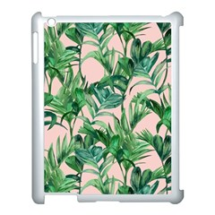 Green Tropical Leaves On Pink Ink Apple Ipad 3/4 Case (white) by goljakoff