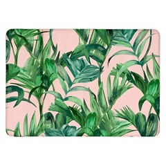 Green Tropical Leaves On Pink Ink Samsung Galaxy Tab 8 9  P7300 Flip Case by goljakoff