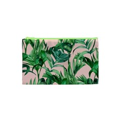 Green Tropical Leaves On Pink Ink Cosmetic Bag (xs) by goljakoff