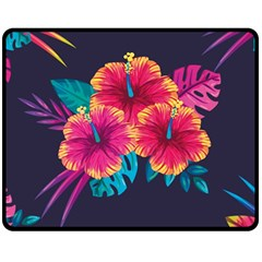 Neon Flowers Fleece Blanket (medium)  by goljakoff