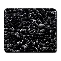 Black And White Grunge Cracked Abstract Print Large Mousepads by dflcprintsclothing