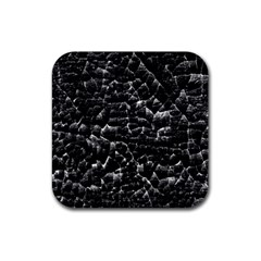 Black And White Grunge Cracked Abstract Print Rubber Coaster (square)  by dflcprintsclothing