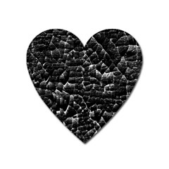 Black And White Grunge Cracked Abstract Print Heart Magnet by dflcprintsclothing
