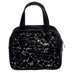Black And White Grunge Cracked Abstract Print Classic Handbag (two Sides) by dflcprintsclothing