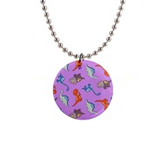 Dinosaurs   Violet 1  Button Necklace by WensdaiAddamns