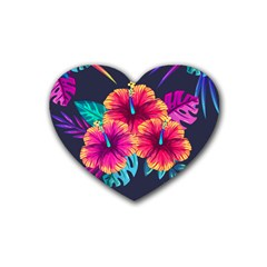 Neon Flowers Rubber Coaster (heart)  by goljakoff
