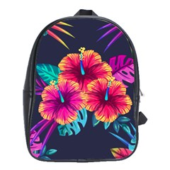 Neon Flowers School Bag (xl) by goljakoff