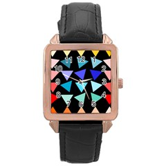 Zappwaits Triangles Rose Gold Leather Watch