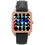 Zappwaits Triangles Rose Gold Leather Watch  Front