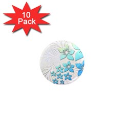 Flowers Background Leaf Leaves Blue 1  Mini Magnet (10 Pack)  by Mariart