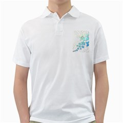 Flowers Background Leaf Leaves Blue Golf Shirt by Mariart