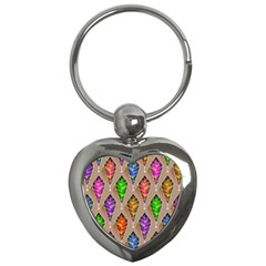 Abstract Background Colorful Leaves Key Chains (heart)