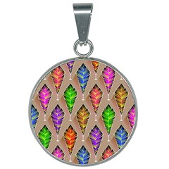 Abstract Background Colorful Leaves 25mm Round Necklace