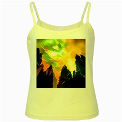 Forest Trees Nature Wood Green Yellow Spaghetti Tank by Pakrebo