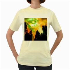 Forest Trees Nature Wood Green Women s Yellow T Shirt
