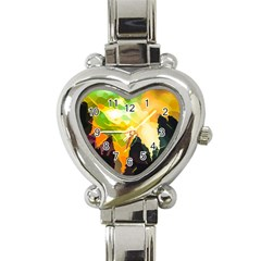 Forest Trees Nature Wood Green Heart Italian Charm Watch by Pakrebo