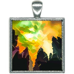 Forest Trees Nature Wood Green Square Necklace