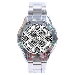Pattern Tile Repeating Geometric Stainless Steel Analogue Watch by Pakrebo