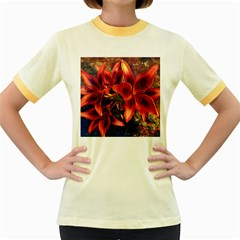 Red Lillies Bloom Flower Plant Women s Fitted Ringer T Shirt